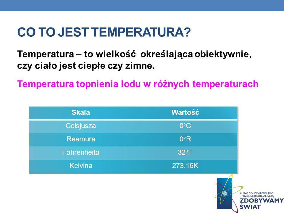 CO TO JEST TEMPERATURA? Temperatura – to wielkość określająca obiektywnie, czy ciało jest ciepłe czy zimne. Temperatura topnienia lodu w różnych tempe