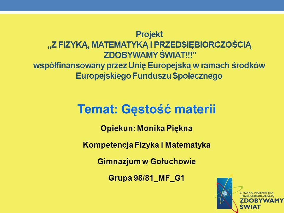 Projekt,,Z FIZYKĄ, MATEMATYKĄ I PRZEDSIĘBIORCZOŚCIĄ ZDOBYWAMY ŚWIAT!!! współfinansowany przez Unię Europejską w ramach środków Europejskiego Funduszu
