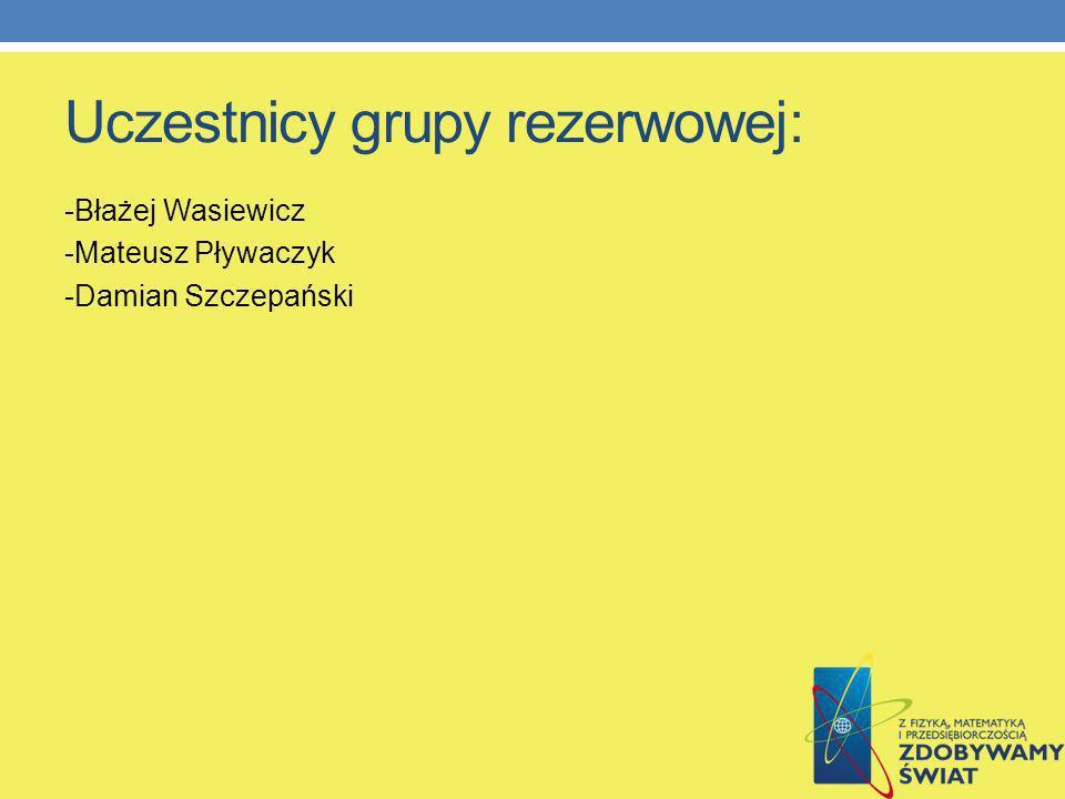 Uczestnicy grupy rezerwowej: -Błażej Wasiewicz -Mateusz Pływaczyk -Damian Szczepański