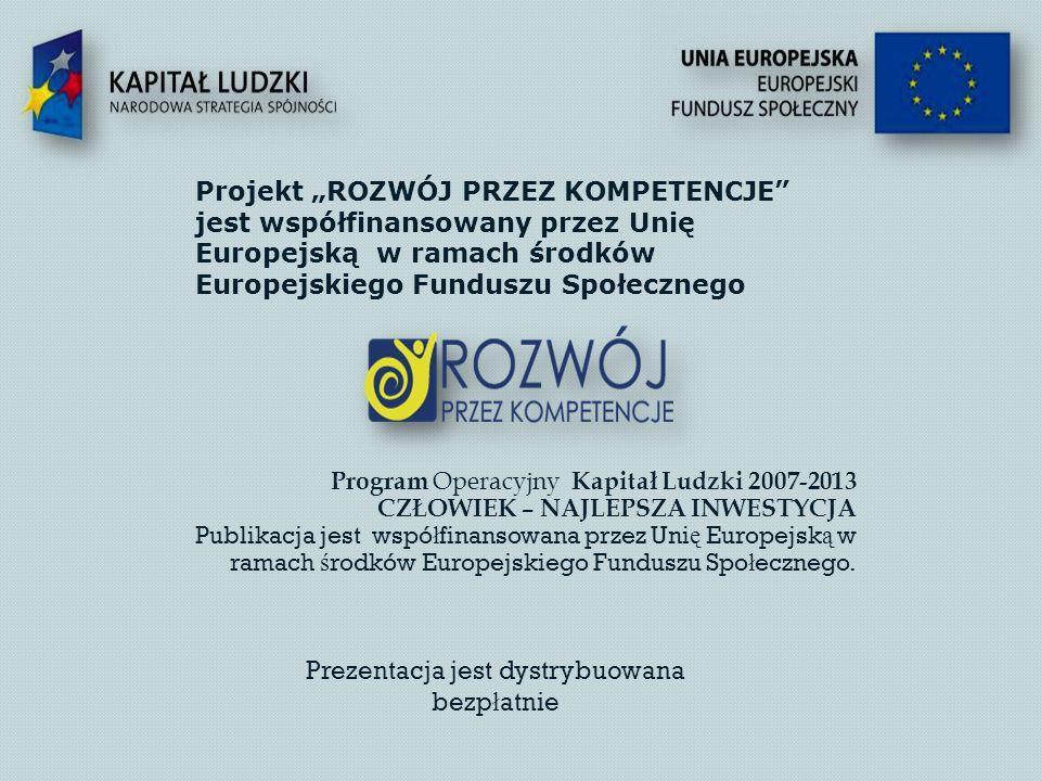Program Operacyjny Kapitał Ludzki 2007-2013 CZŁOWIEK – NAJLEPSZA INWESTYCJA Publikacja jest wspó ł finansowana przez Uni ę Europejsk ą w ramach ś rodków Europejskiego Funduszu Spo ł ecznego.