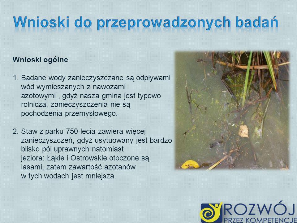 Wnioski ogólne 1. Badane wody zanieczyszczane są odpływami wód wymieszanych z nawozami azotowymi, gdyż nasza gmina jest typowo rolnicza, zanieczyszcze