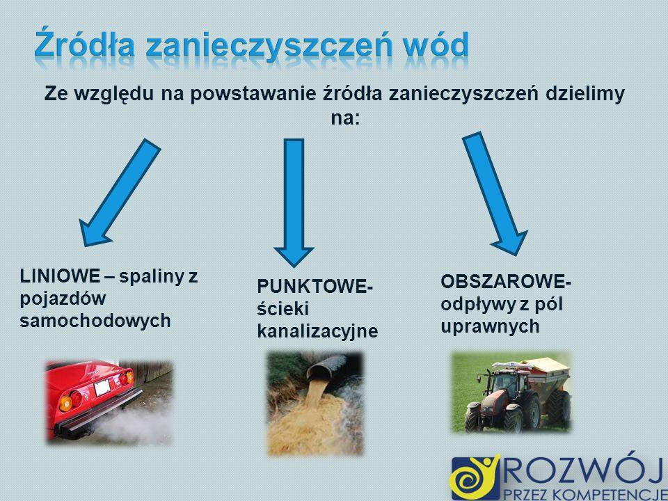 Ze względu na powstawanie źródła zanieczyszczeń dzielimy na: LINIOWE – spaliny z pojazdów samochodowych PUNKTOWE- ścieki kanalizacyjne OBSZAROWE- odpływy z pól uprawnych
