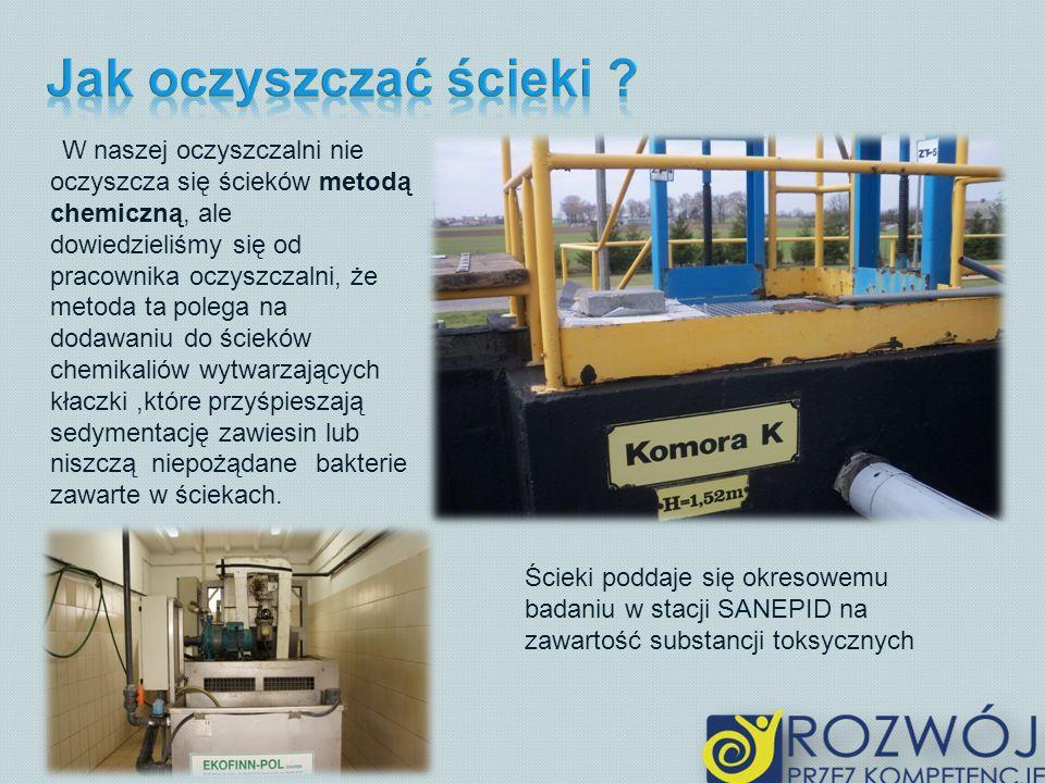 W naszej oczyszczalni nie oczyszcza się ścieków metodą chemiczną, ale dowiedzieliśmy się od pracownika oczyszczalni, że metoda ta polega na dodawaniu do ścieków chemikaliów wytwarzających kłaczki,które przyśpieszają sedymentację zawiesin lub niszczą niepożądane bakterie zawarte w ściekach.