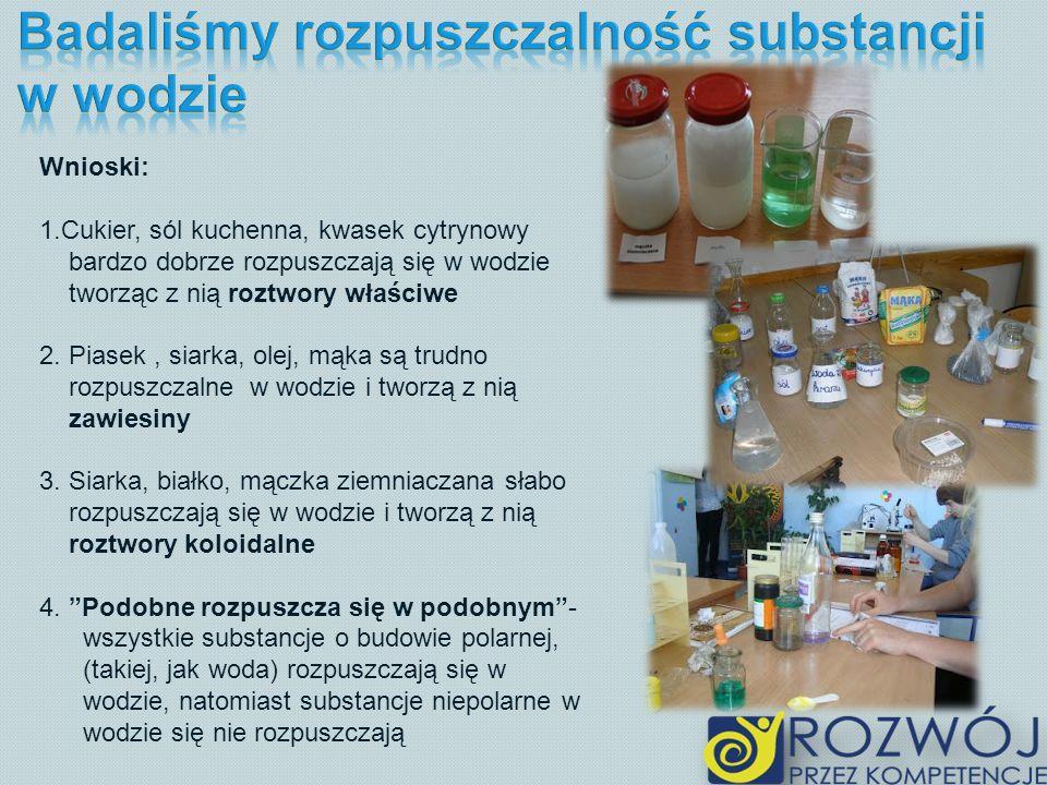 Wnioski: 1.Cukier, sól kuchenna, kwasek cytrynowy bardzo dobrze rozpuszczają się w wodzie tworząc z nią roztwory właściwe 2. Piasek, siarka, olej, mąk