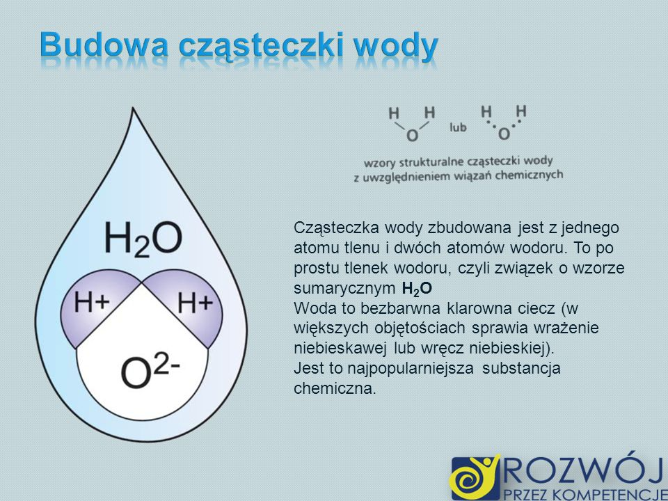 Cząsteczka wody zbudowana jest z jednego atomu tlenu i dwóch atomów wodoru. To po prostu tlenek wodoru, czyli związek o wzorze sumarycznym H 2 O Woda