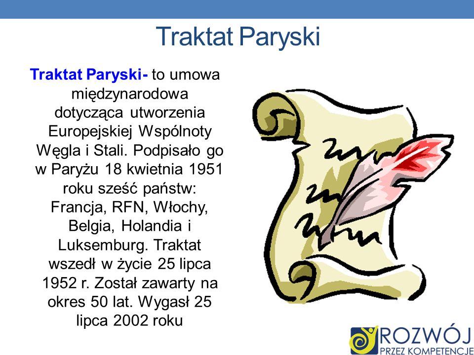 Traktat Paryski Traktat Paryski- to umowa międzynarodowa dotycząca utworzenia Europejskiej Wspólnoty Węgla i Stali.