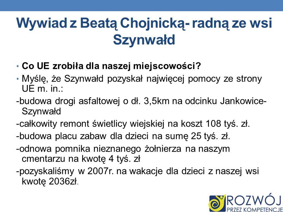 Wywiad z Beatą Chojnicką- radną ze wsi Szynwałd Co UE zrobiła dla naszej miejscowości.