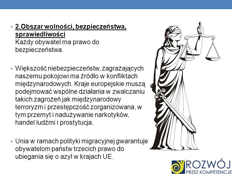 2.Obszar wolności, bezpieczeństwa, sprawiedliwości Każdy obywatel ma prawo do bezpieczeństwa.