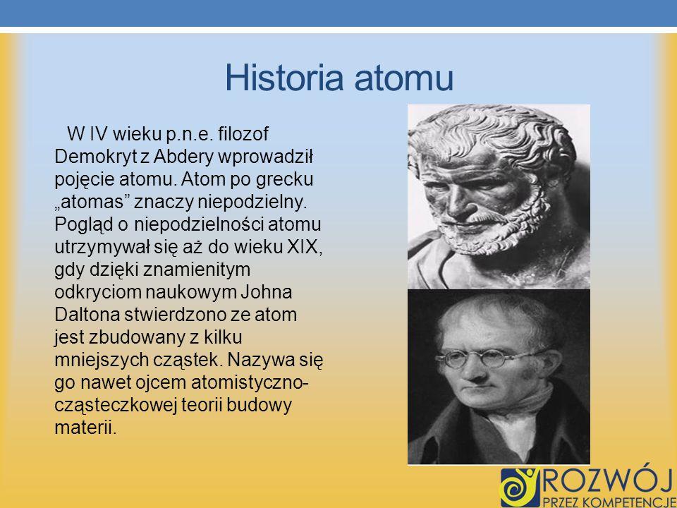Historia atomu W IV wieku p.n.e.filozof Demokryt z Abdery wprowadził pojęcie atomu.