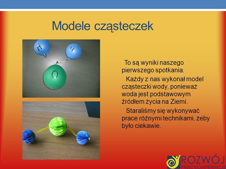 Modele cząsteczek To są wyniki naszego pierwszego spotkania.