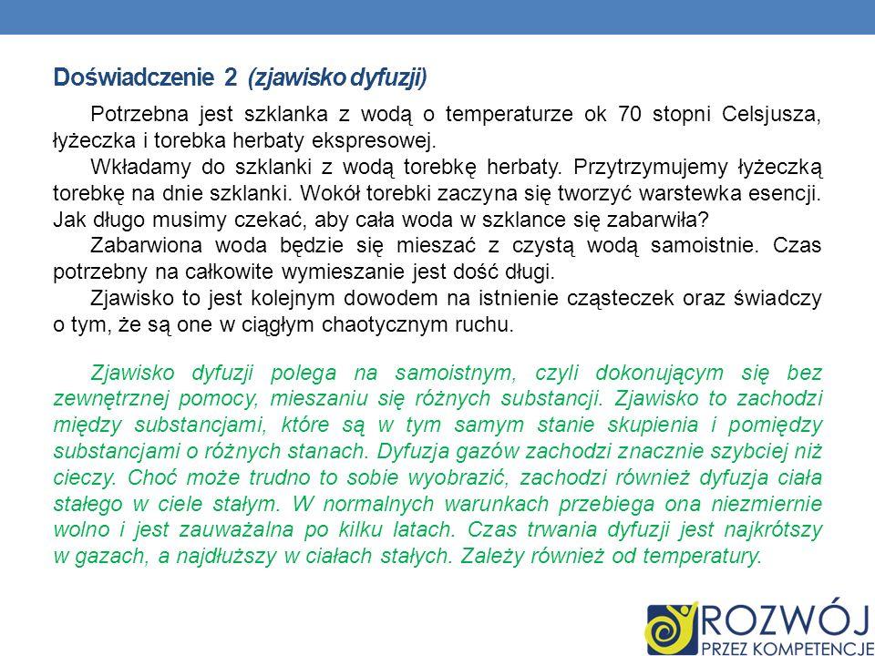 Doświadczenie 2 (zjawisko dyfuzji) Potrzebna jest szklanka z wodą o temperaturze ok 70 stopni Celsjusza, łyżeczka i torebka herbaty ekspresowej. Wkład