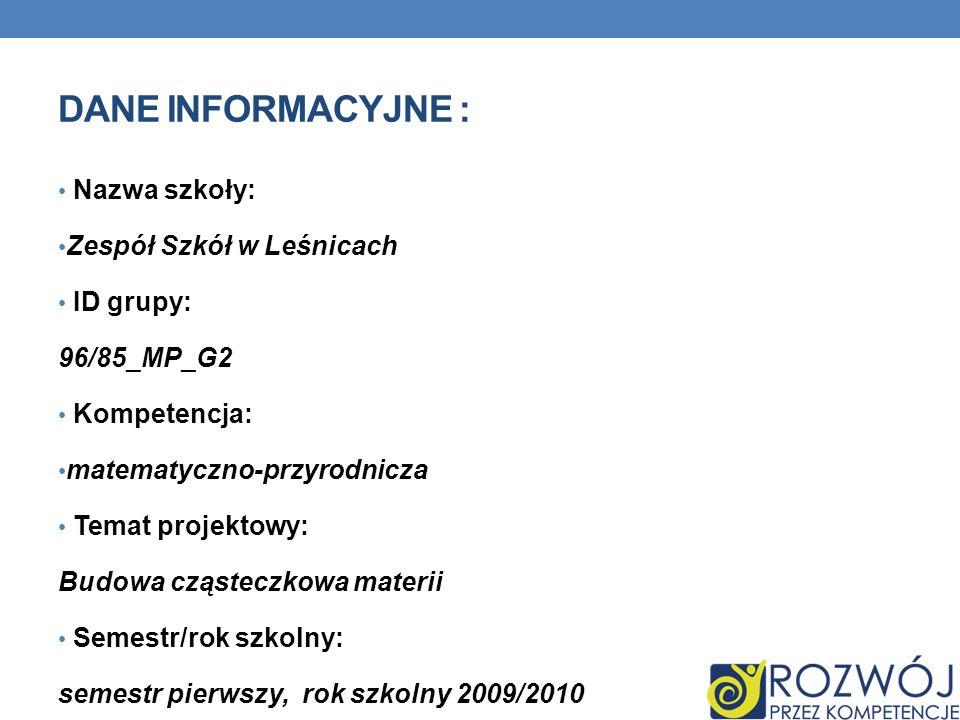 DANE INFORMACYJNE : Nazwa szkoły: Zespół Szkół w Leśnicach ID grupy: 96/85_MP_G2 Kompetencja: matematyczno-przyrodnicza Temat projektowy: Budowa cząst