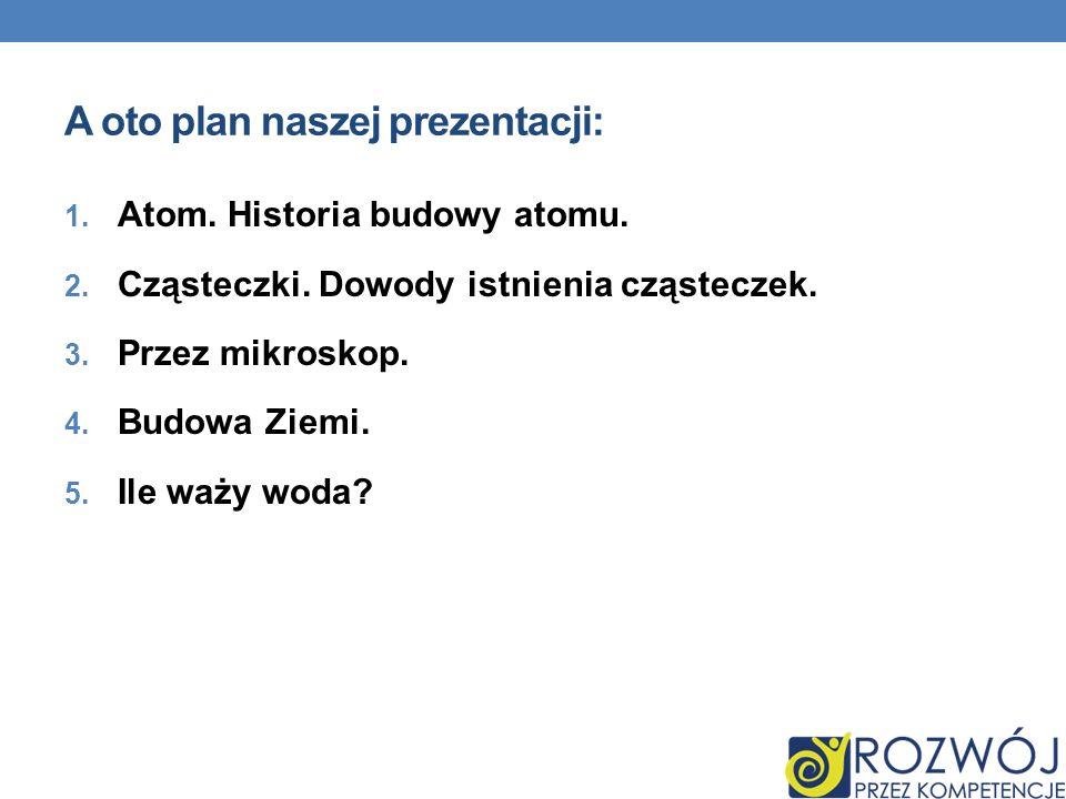 A oto plan naszej prezentacji: 1. Atom. Historia budowy atomu. 2. Cząsteczki. Dowody istnienia cząsteczek. 3. Przez mikroskop. 4. Budowa Ziemi. 5. Ile