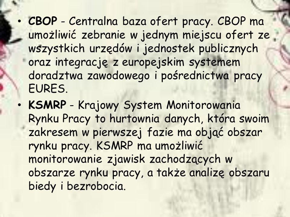 CBOP - Centralna baza ofert pracy. CBOP ma umożliwić zebranie w jednym miejscu ofert ze wszystkich urzędów i jednostek publicznych oraz integrację z e