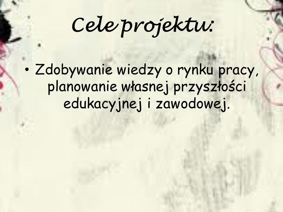 Cele projektu: Zdobywanie wiedzy o rynku pracy, planowanie własnej przyszłości edukacyjnej i zawodowej.