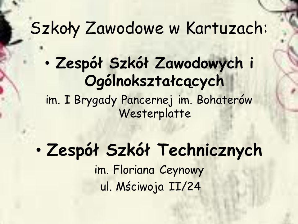 Szkoły Zawodowe w Kartuzach: Zespół Szkół Zawodowych i Ogólnokształcących im. I Brygady Pancernej im. Bohaterów Westerplatte Zespół Szkół Technicznych