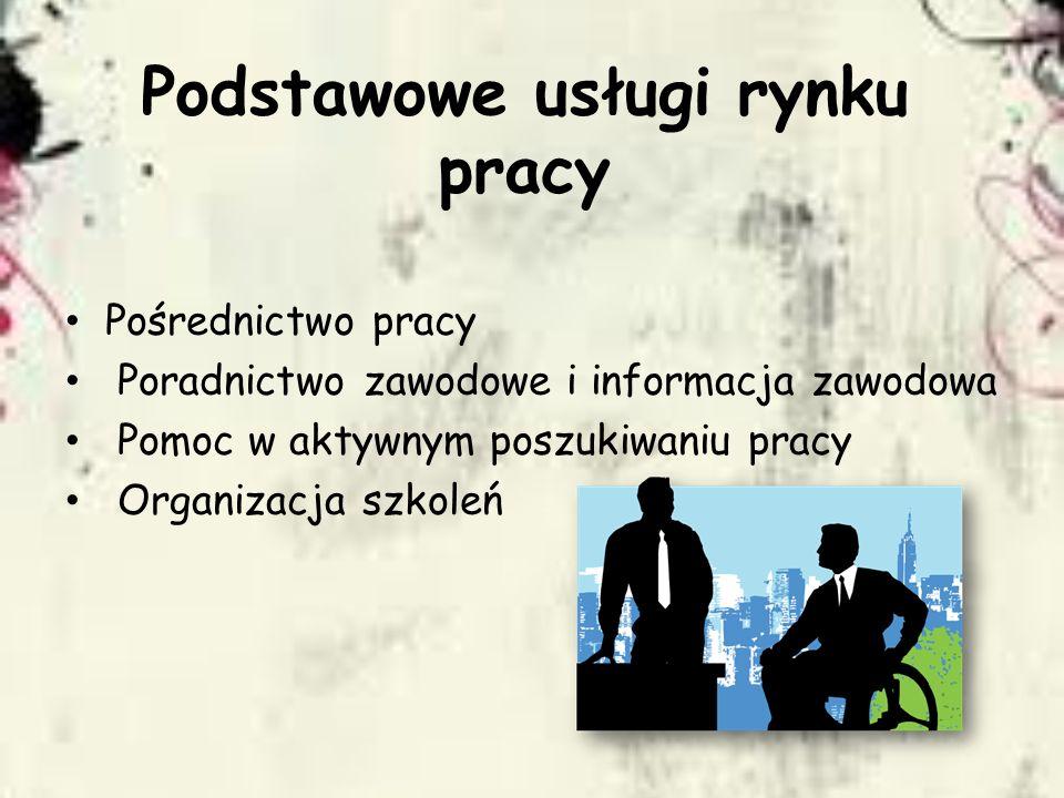 Podstawowe usługi rynku pracy Pośrednictwo pracy Poradnictwo zawodowe i informacja zawodowa Pomoc w aktywnym poszukiwaniu pracy Organizacja szkoleń