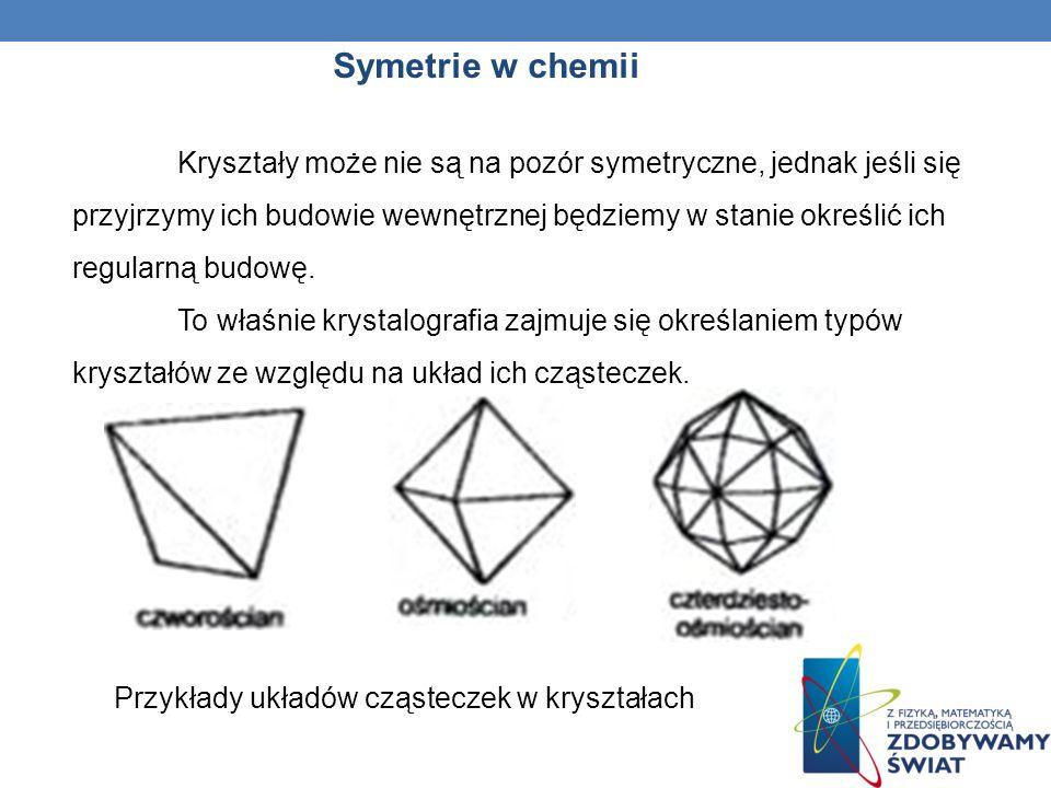 Symetrie w chemii Kryształy Kryształem nazywamy ciało stałe, którego cząsteczki, atomy, bądź jony są uporządkowane w określony schemat powtarzający si