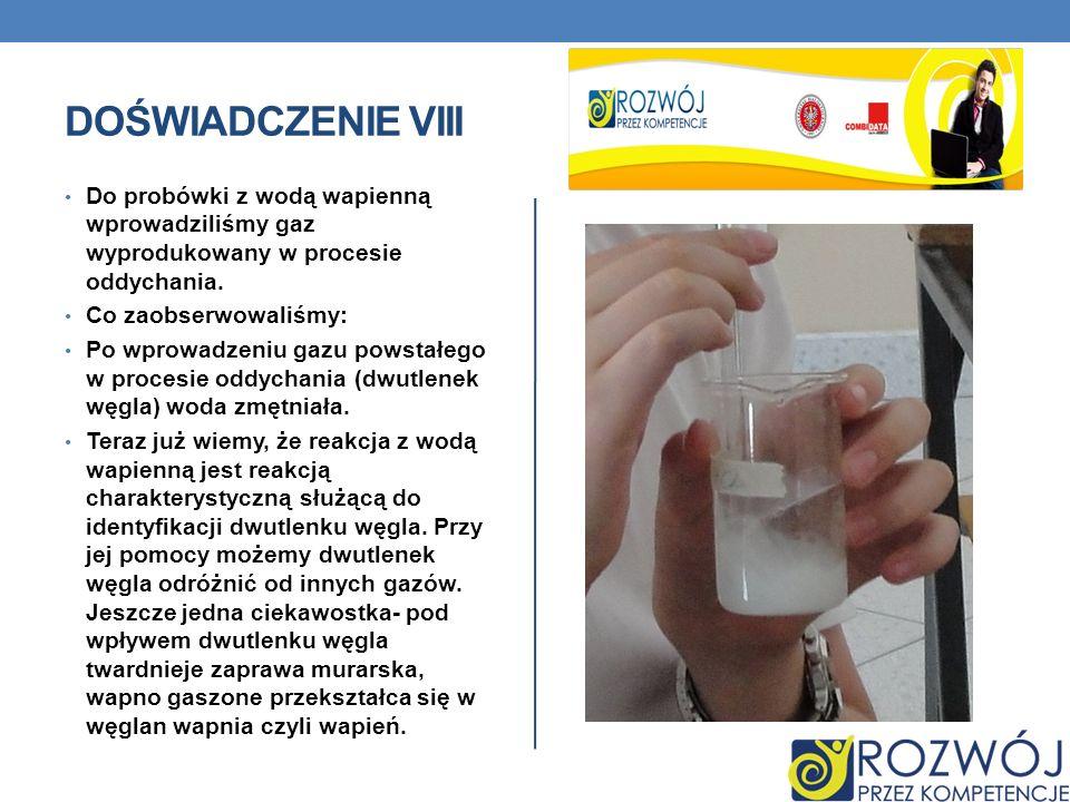 DOŚWIADCZENIE VIII Do probówki z wodą wapienną wprowadziliśmy gaz wyprodukowany w procesie oddychania. Co zaobserwowaliśmy: Po wprowadzeniu gazu powst