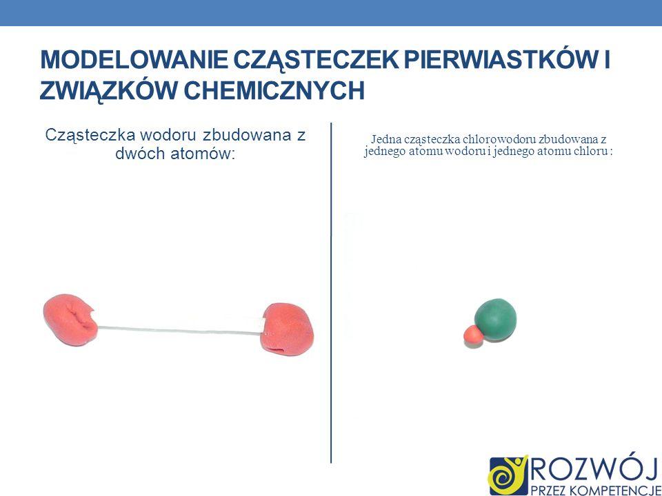 Cząsteczka wodoru zbudowana z dwóch atomów: Jedna cząsteczka chlorowodoru zbudowana z jednego atomu wodoru i jednego atomu chloru : MODELOWANIE CZĄSTE