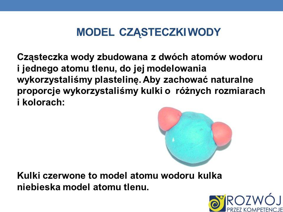 MODEL CZĄSTECZKI WODY Cząsteczka wody zbudowana z dwóch atomów wodoru i jednego atomu tlenu, do jej modelowania wykorzystaliśmy plastelinę. Aby zachow