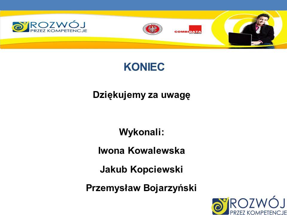 KONIEC Dziękujemy za uwagę Wykonali: Iwona Kowalewska Jakub Kopciewski Przemysław Bojarzyński