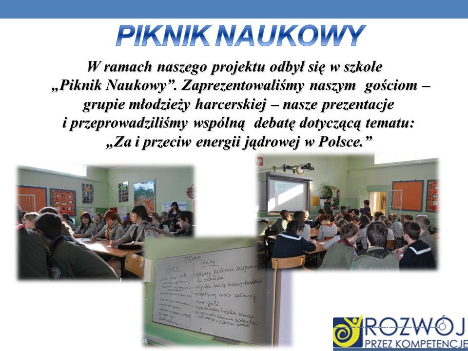 W ramach naszego projektu odbył się w szkole Piknik Naukowy. Zaprezentowaliśmy naszym gościom – grupiemłodzieży harcerskiej – nasze prezentacje i prze
