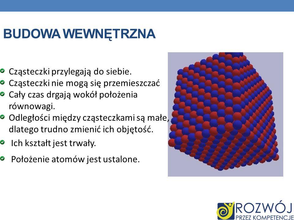 BUDOWA WEWNĘTRZNA Cząsteczki przylegają do siebie. Cząsteczki nie mogą się przemieszczać Cały czas drgają wokół położenia równowagi. Odległości między