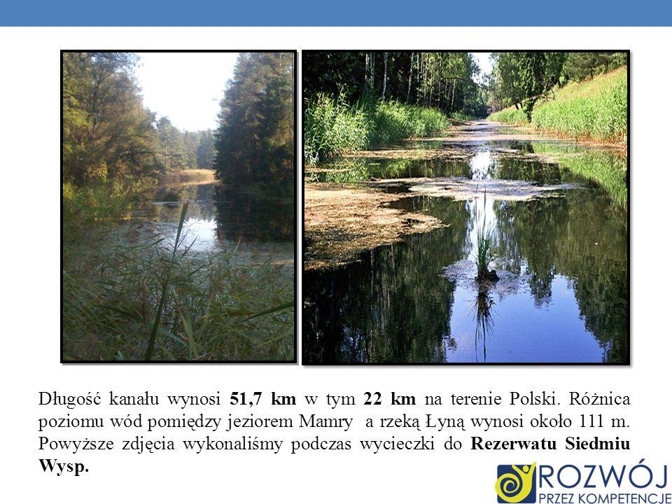 Długość kanału wynosi 51,7 km w tym 22 km na terenie Polski. Różnica poziomu wód pomiędzy jeziorem Mamry a rzeką Łyną wynosi około 111 m. Powyższe zdj