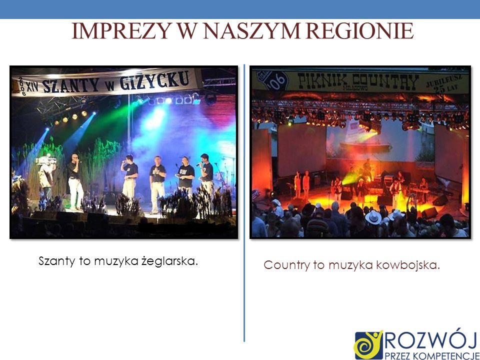 IMPREZY W NASZYM REGIONIE Szanty to muzyka żeglarska. Country to muzyka kowbojska.