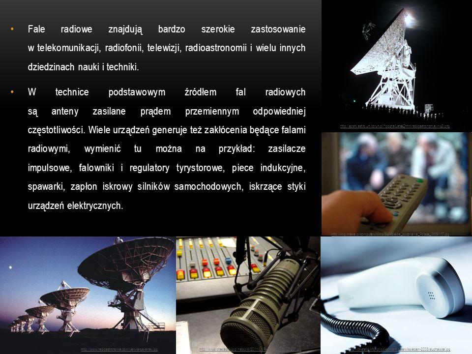 Fale radiowe znajdują bardzo szerokie zastosowanie w telekomunikacji, radiofonii, telewizji, radioastronomii i wielu innych dziedzinach nauki i techni