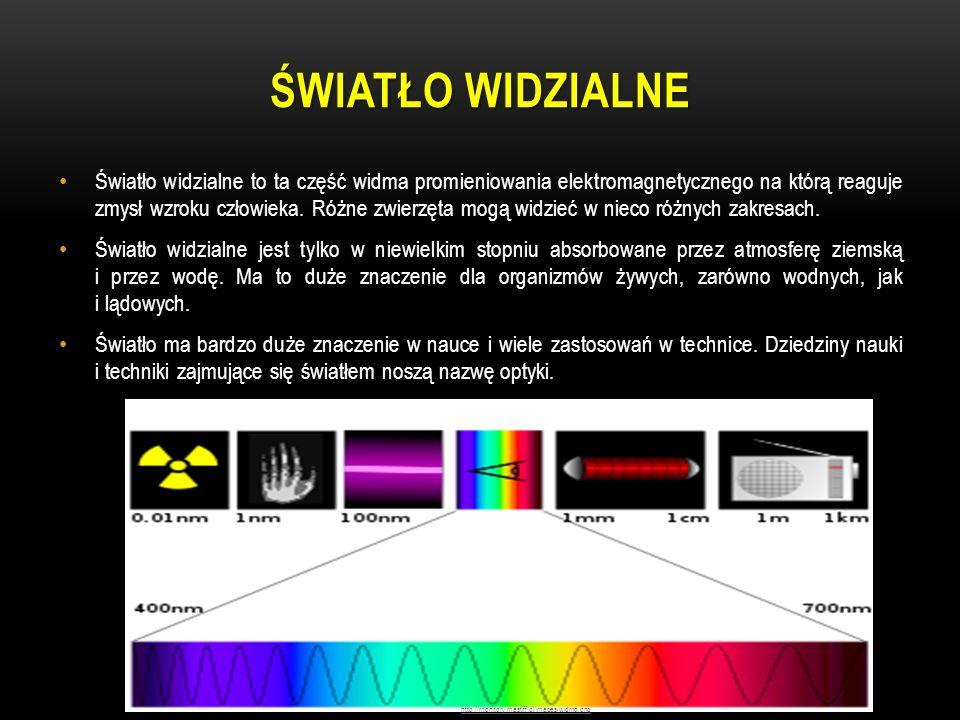 ŚWIATŁO WIDZIALNE Światło widzialne to ta część widma promieniowania elektromagnetycznego na którą reaguje zmysł wzroku człowieka. Różne zwierzęta mog