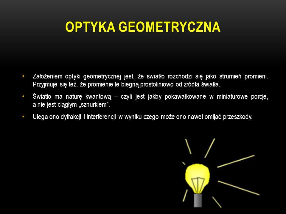 OPTYKA GEOMETRYCZNA Założeniem optyki geometrycznej jest, że światło rozchodzi się jako strumień promieni. Przyjmuje się też, że promienie te biegną p
