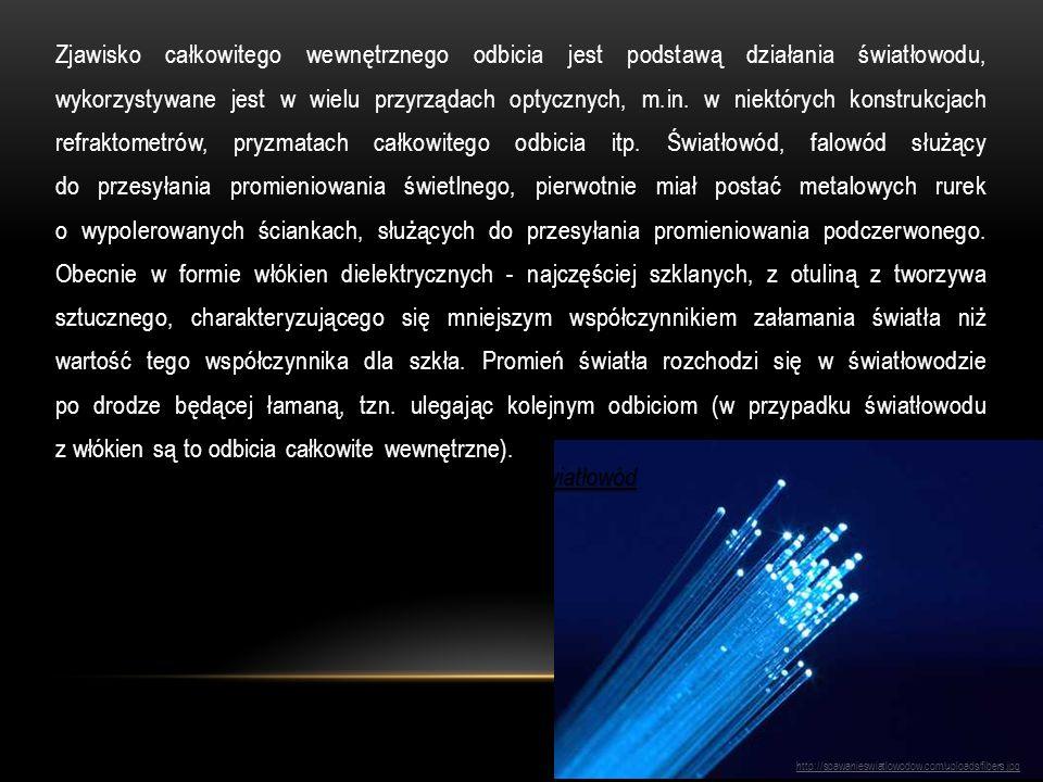 Zjawisko całkowitego wewnętrznego odbicia jest podstawą działania światłowodu, wykorzystywane jest w wielu przyrządach optycznych, m.in. w niektórych