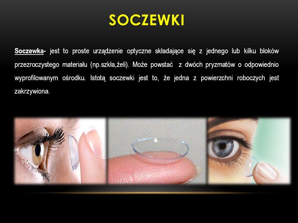 SOCZEWKI Soczewka- Soczewka- jest to proste urządzenie optyczne składające się z jednego lub kilku bloków przezroczystego materiału (np.szkła,żeli). M