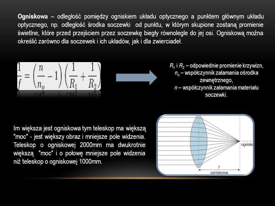 Ogniskowa – odległość pomiędzy ogniskiem układu optycznego a punktem głównym układu optycznego, np. odległość środka soczewki od punktu, w którym skup