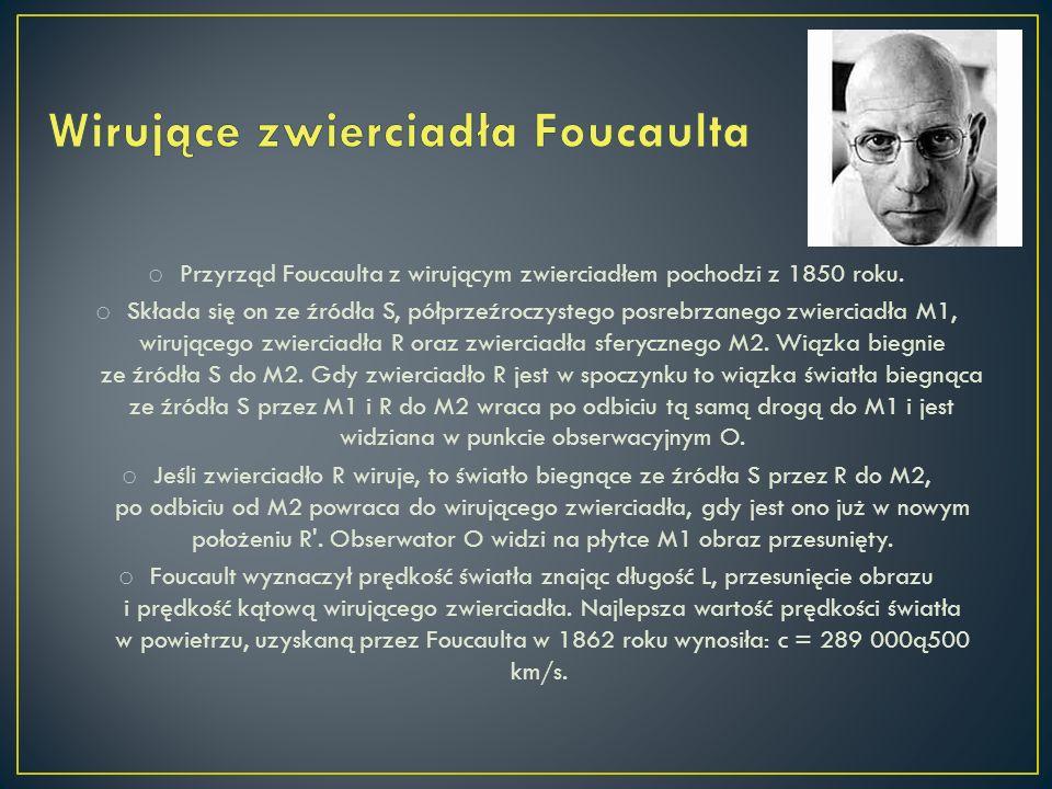 o Przyrząd Foucaulta z wirującym zwierciadłem pochodzi z 1850 roku. o Składa się on ze źródła S, półprzeźroczystego posrebrzanego zwierciadła M1, wiru