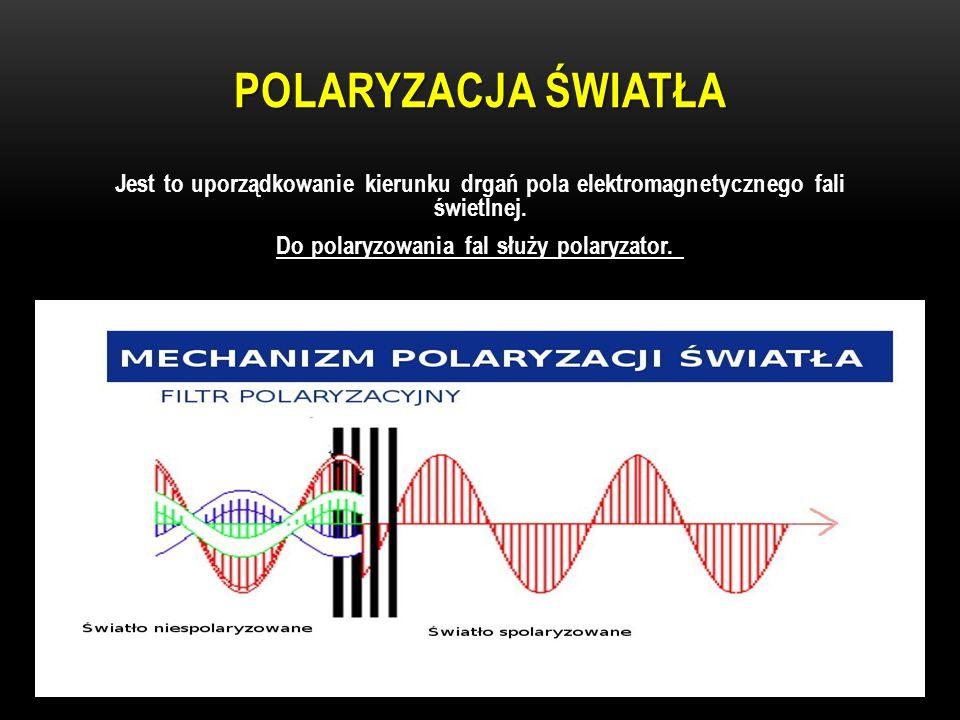 POLARYZACJA ŚWIATŁA Jest to uporządkowanie kierunku drgań pola elektromagnetycznego fali świetlnej. Do polaryzowania fal służy polaryzator.