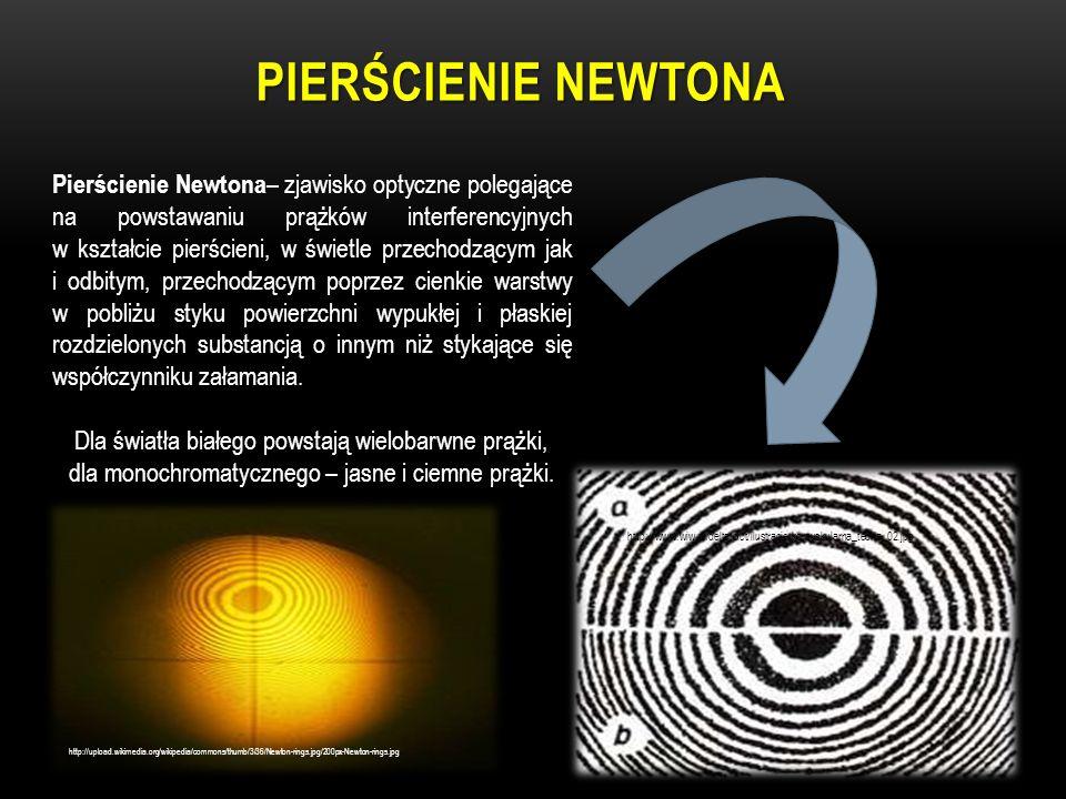 PIERŚCIENIE NEWTONA Pierścienie Newtona – zjawisko optyczne polegające na powstawaniu prążków interferencyjnych w kształcie pierścieni, w świetle prze