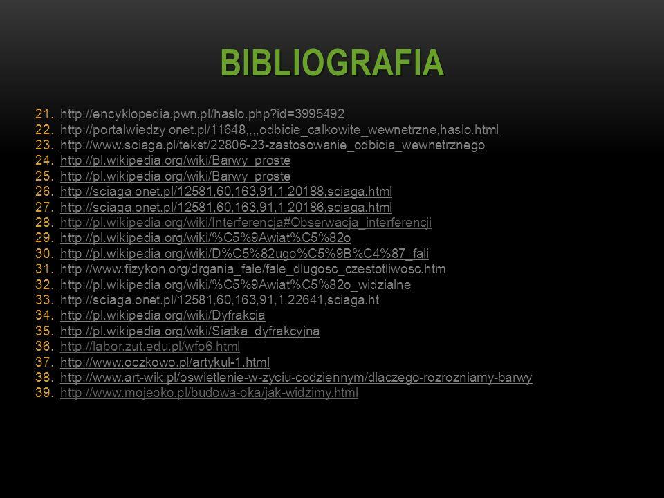 BIBLIOGRAFIA 21.http://encyklopedia.pwn.pl/haslo.php?id=3995492 22.http://portalwiedzy.onet.pl/11648,,,,odbicie_calkowite_wewnetrzne,haslo.html 23.htt