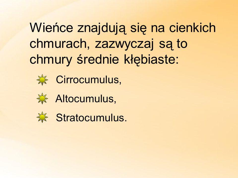 Wieńce znajdują się na cienkich chmurach, zazwyczaj są to chmury średnie kłębiaste: Cirrocumulus, Altocumulus, Stratocumulus.