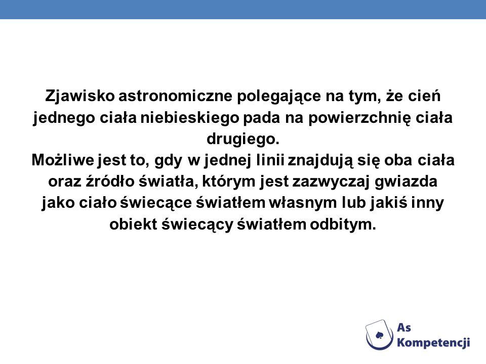 Zjawisko astronomiczne polegające na tym, że cień jednego ciała niebieskiego pada na powierzchnię ciała drugiego. Możliwe jest to, gdy w jednej linii