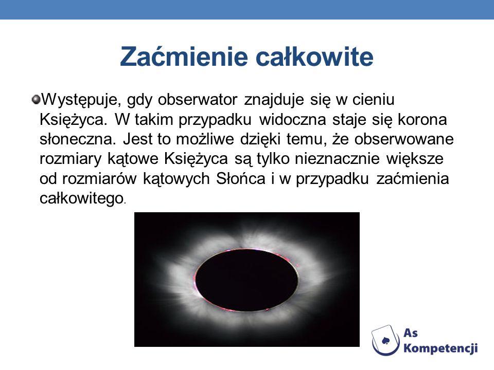 Zaćmienie całkowite Występuje, gdy obserwator znajduje się w cieniu Księżyca. W takim przypadku widoczna staje się korona słoneczna. Jest to możliwe d