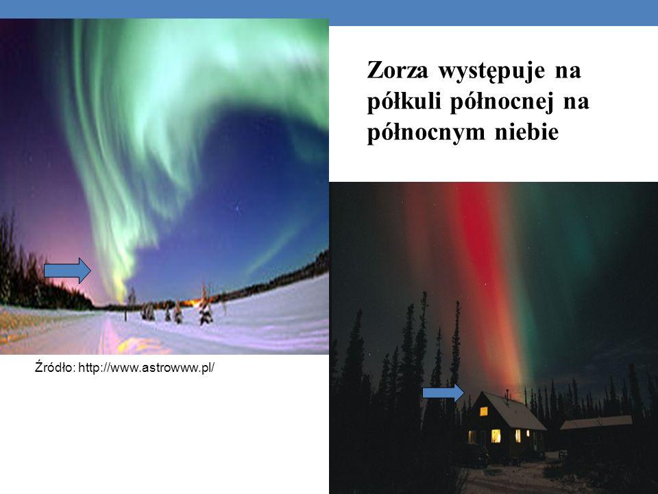 Zorza występuje na półkuli północnej na północnym niebie Źródło: http://www.astrowww.pl/