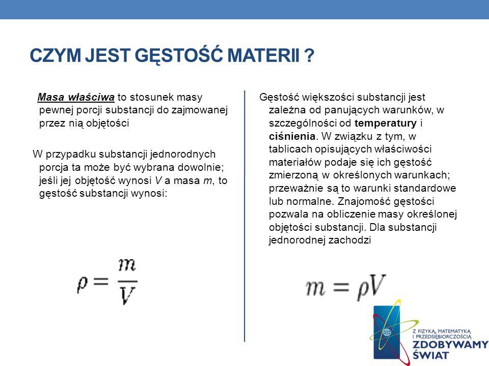 PLAN PREZENTACJI 1. Czym jest gęstość materii ? 2. Jednostki gęstości. 3. Jednostki objętości – przypomnienie. 4. Tabele gęstości substancji. 5. Gęsto