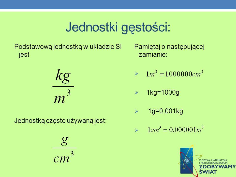 Jest to stosunek masy pewnej porcji substancji do zajmowanej przez nią objętości.