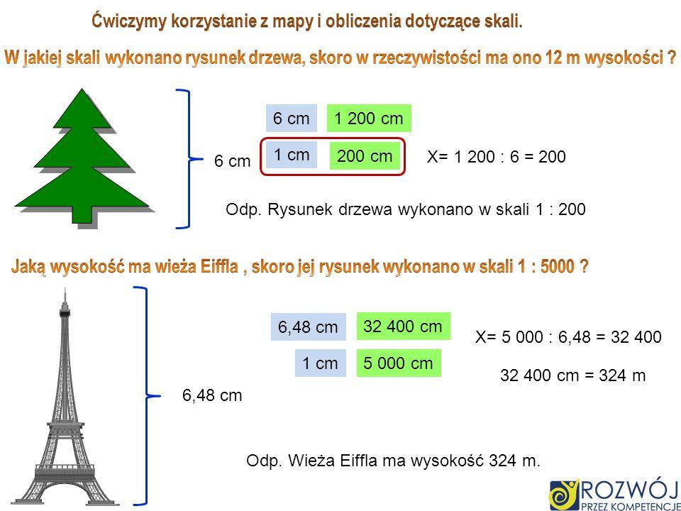 6 cm 1 200 cm 1 cm X cm X= 1 200 : 6 = 200 200 cm Odp. Rysunek drzewa wykonano w skali 1 : 200 6,48 cm X cm 1 cm5 000 cm X= 5 000 : 6,48 = 32 400 32 4