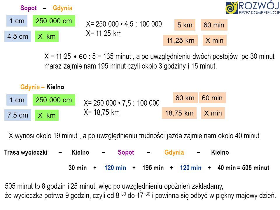 Sopot – Gdynia 1 cm250 000 cm 4,5 cmX km X= 250 000 4,5 : 100 000 X= 11,25 km 5 km60 min 11,25 kmX min X = 11,25 60 : 5 = 135 minut, a po uwzględnieni