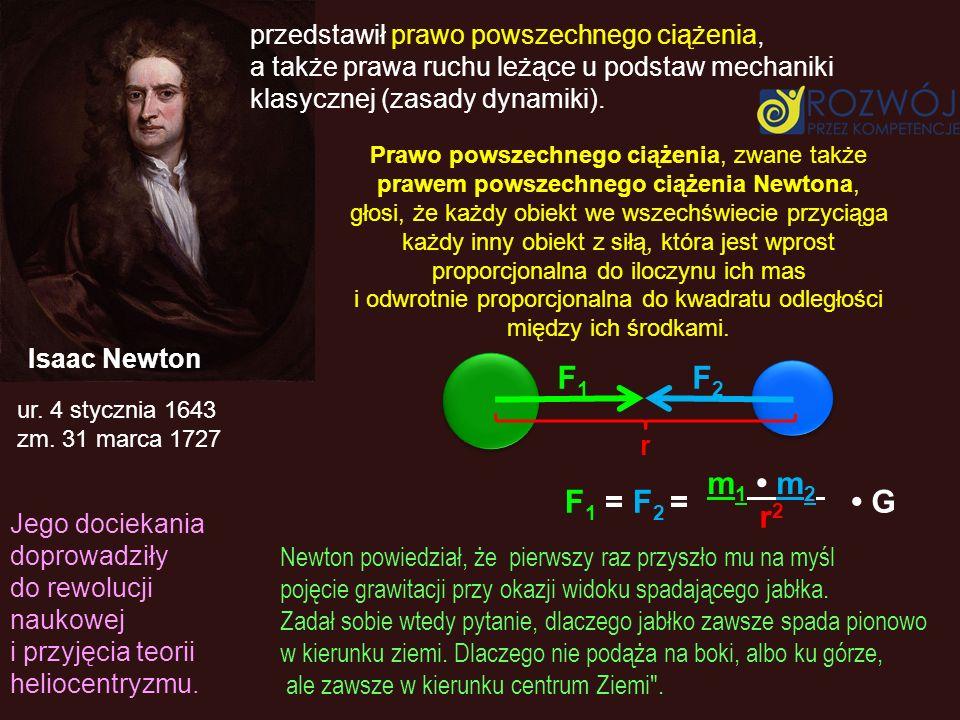 ur. 4 stycznia 1643 zm. 31 marca 1727 przedstawił prawo powszechnego ciążenia, a także prawa ruchu leżące u podstaw mechaniki klasycznej (zasady dynam