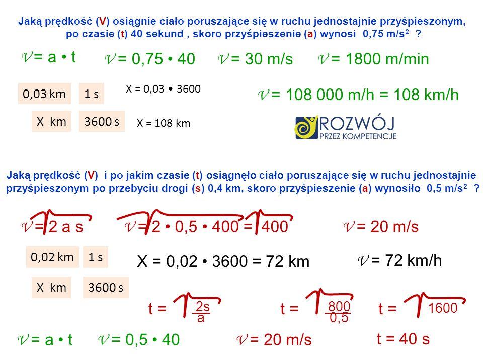 Jaką prędkość (V) osiągnie ciało poruszające się w ruchu jednostajnie przyśpieszonym, po czasie (t) 40 sekund, skoro przyśpieszenie (a) wynosi 0,75 m/